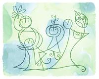 2人の大人と2人の子供と葉と花