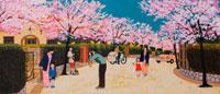 桜の下で記念撮影する親子・春