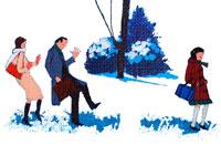 雪道を歩く通勤通学の人々・冬