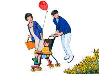 バギーで公園を散歩する親子・春