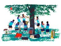 木陰でブラスバンドの練習する女学生・春