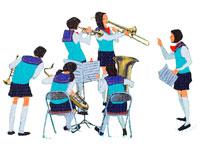 ブラスバンドの練習する女学生・春