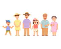 夏休みに外出する笑顔の3世代家族6人