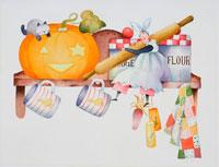 ハローウインのかぼちゃとキッチンガール 02237001555| 写真素材・ストックフォト・画像・イラスト素材|アマナイメージズ