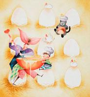 卵のプリンを作る親子とネコ