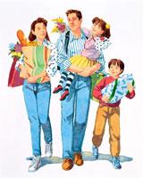 家族4人、買い物帰り、娘を抱く父