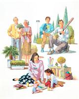 父息子公園、祖父母植木、母娘絵本