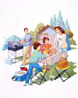 家族4人、キャンプ
