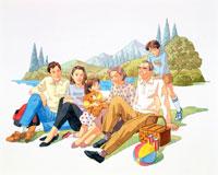 家族6人、ピクニック