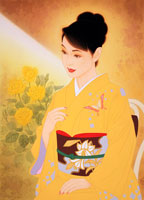 着物、百合の帯、黄色いバラ