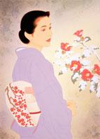 着物、梅の帯、椿