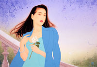 女性、ブルージャケット、白いバラ
