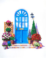 ガーデニング、青いドア、外灯