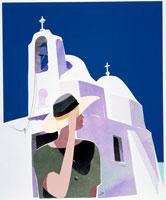 夏の日差し  ギリシャの白い教会と女性