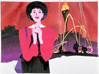 火祭りを見学する女性