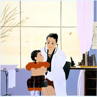 秋の窓辺の診療室 子供を診察する女医