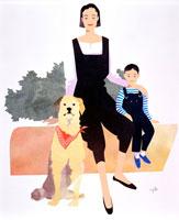 母と男の子と犬のポートレート