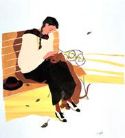 秋の公園のベンチで編み物する女性