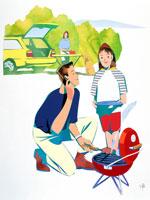 キャンプ場でバーベキューを楽しむ親子 02237001947| 写真素材・ストックフォト・画像・イラスト素材|アマナイメージズ