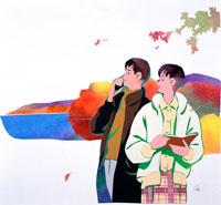 晩秋の湖を旅する若いカップル