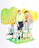 ダルメシアンと散歩する4人家族