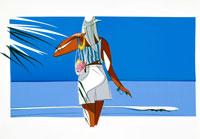 蒼い海と白い砂浜を歩く女性
