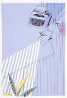 リビングのタイプライタとブラインドの光 02237001988| 写真素材・ストックフォト・画像・イラスト素材|アマナイメージズ