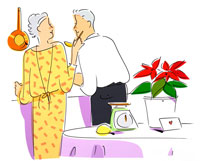 クリスマス ホームパーティを準備する夫婦