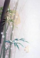 冬・雪降る竹林に月明かりを見る雪うさぎ
