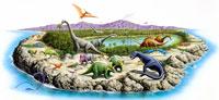 様々な恐竜のいる島