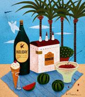 瓶と家とスイカとアイス ヤシの木とピエロ