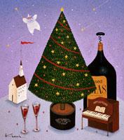 クリスマスツリーとワイン ピエロ