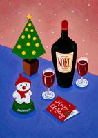 クリスマスツリーとワインと雪だるま
