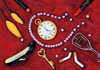 口紅とハイヒールと時計 真珠のネックレス