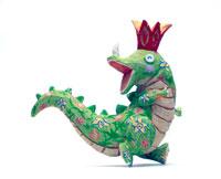 楽しく走る花柄の恐竜