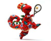楽しくテニスをする花柄の恐竜
