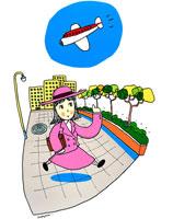 飛行機が飛ぶ街角を歩く女