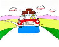 荷物をキャリ-に積んだ赤い車で旅立ちだ