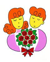 バラの花束を持つ新婚カップル