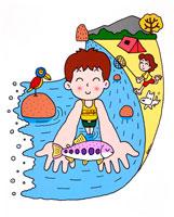 夏休みはキャンプに水遊びにお魚さん 02237002182| 写真素材・ストックフォト・画像・イラスト素材|アマナイメージズ
