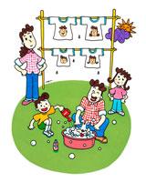 天気のいい日は家族で洗濯 02237002193| 写真素材・ストックフォト・画像・イラスト素材|アマナイメージズ
