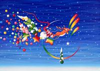 サンタに月と流れ星