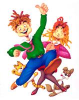 緑の服の飛び跳ねる若者と女性と犬と猫
