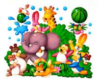 水玉と西瓜と森の中の動物達