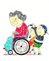 車椅子の老婆を笑顔で介護する少年少女