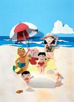 夏のビーチで家族でリゾート 02237002442| 写真素材・ストックフォト・画像・イラスト素材|アマナイメージズ