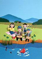 春の小川で家族で釣り