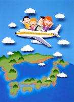 飛行機に乗って家族旅行