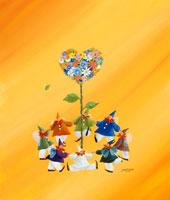 ハートの木の周りで輪になる妖精たち(春)