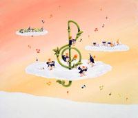 雲の上の花咲くト音記号と演奏する妖精たち